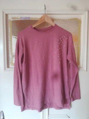 Rosa Flauschiger Pullover mit Perlen