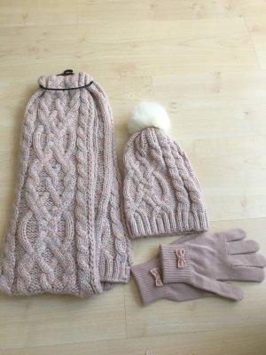 Écharpe en tricot or rose