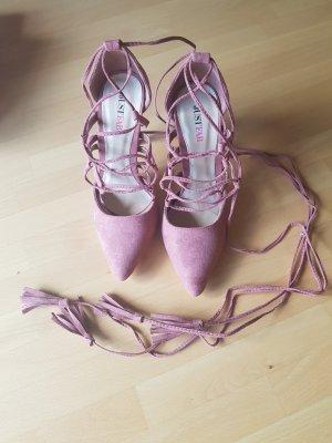 JustFab Escarpins à lacets rose-mauve