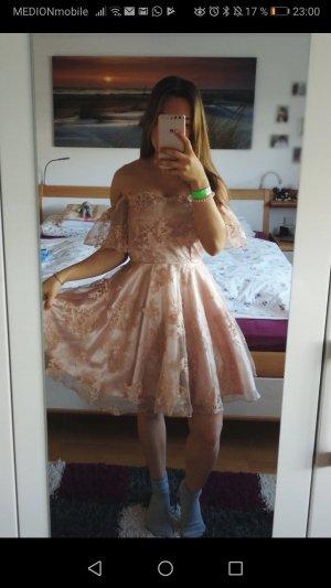 Simplee Off the shoulder jurk stoffig roze-rosé