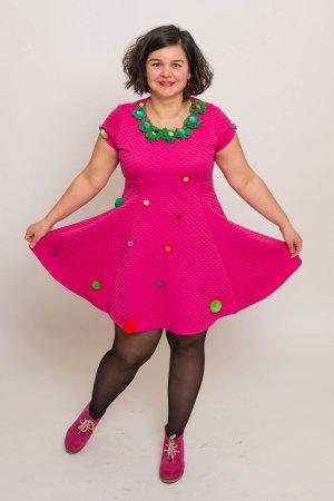 Babydoll Dress raspberry-red-green polyester
