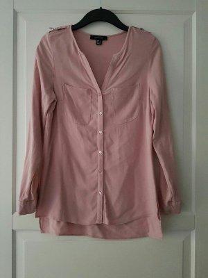 rosa, langärmlige Hemd-Blusen