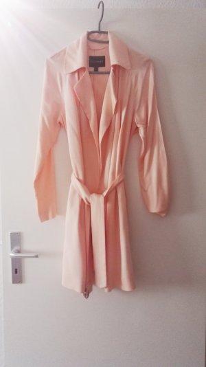 Rosa langer Mantel mit Gürtel