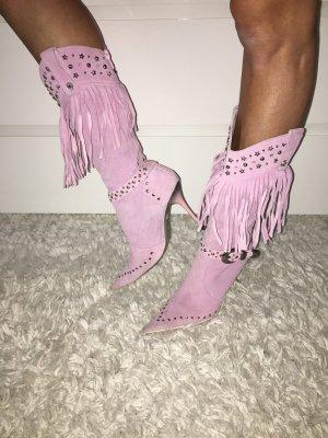 Rosa Leder Cowboystiefel