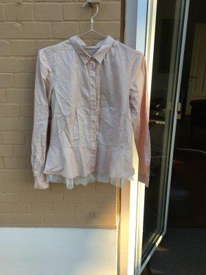 fd812b249925 Rosa Marken Bluse Hemd Business kragen Tüll schick fein zart Benetton  pastell Ballerina Look gossip girl
