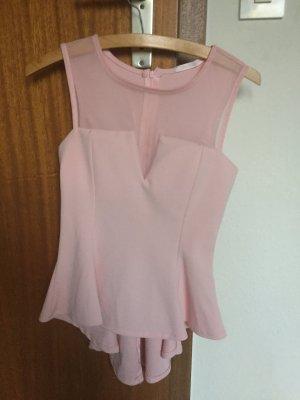 rosa nude shirt mit schößchen