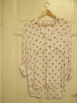 rosa oversized Bluse von Promod, XS, graphisches Vogelmuster
