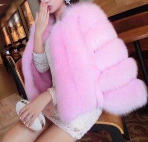 Giacca di pelliccia color oro rosa-rosa Pelliccia