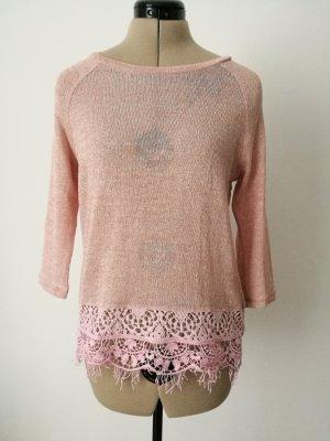 rosa Pullover mit Spitzensaum