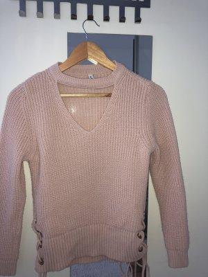 Rosa Pullover V- Ausschnitt
