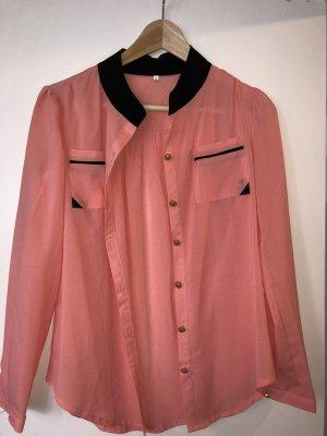 Rosa/Salmon Bluse Hemd Gr S