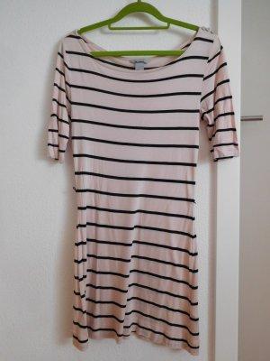 Rosa/schwarz gestreiftes Shirt Kleid mit halbarm von H&M
