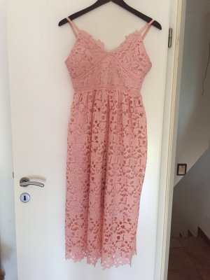 Kanten jurk stoffig roze