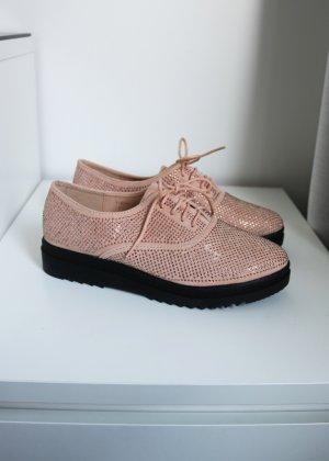 rosa strassbesetzte Dandy Schnürer Schnürschuhe 39 Neu ideal Shoes Glitzer