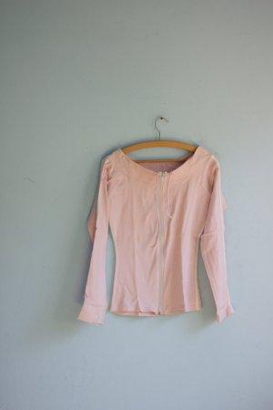 Rosa Sweatjacke weiße Streifen sportlich retro