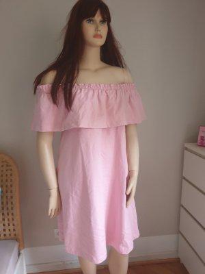 Rosa Sweatshirt-Off-Shoulder Kleid