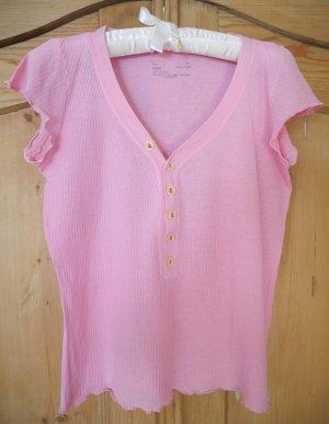 Rosa T-Shirt mit Knopfleiste