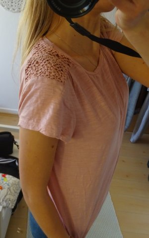 Rosa T-shirt mit Spitze 36