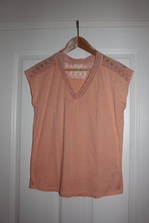 rosa T-Shirt von Esprit mit Spitzenbesatz