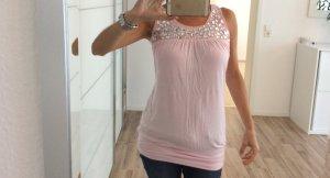 Rosa top mit glitzersteinen / einmal getragen