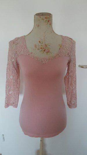 rosa Top mit Spitzenärmel Gr. S