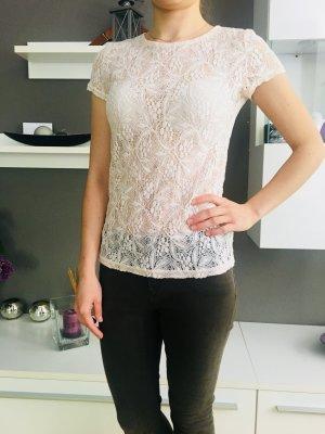 Rosa transparente Spitzenbluse