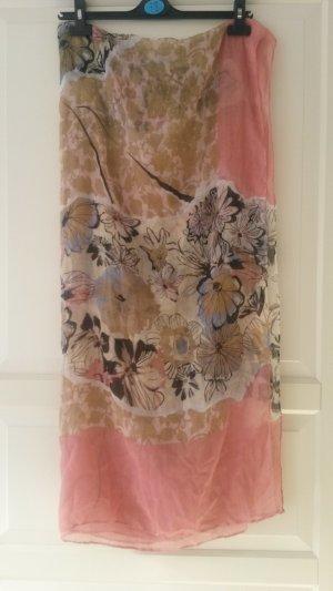 rosa Tuch mit Blumen und Leoprint