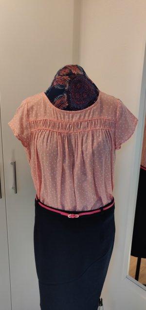 rosa verspieltes luftiges T-Shirt, Gr 38 , Esprit, weiße Blümchen, 3x getragen