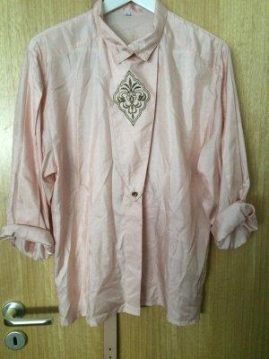 Rosa Vintage Bluse mit Stickerei und goldenen Knöpfen