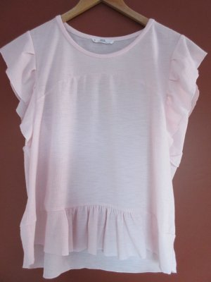 Mango Flounce Top light pink polyester