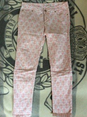 Rosa-weiß gemusterte Jeans von ZARA