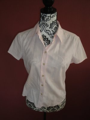 Rosa-Weiß gestreifte Kurzarm Bluse