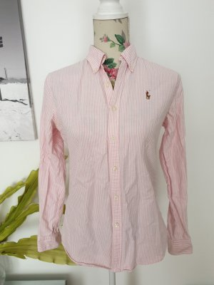 Rosa-weiß gestreifte Ralph Lauren Slim Fit Hemdbluse Oxford