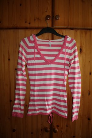 Fishbone Hooded Sweater white-pink cotton
