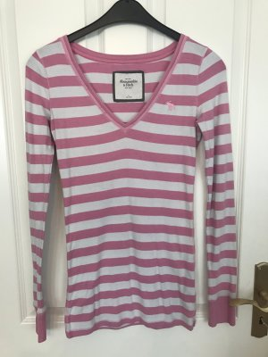 Rosa-weiß gestreiftes Longshirt in L