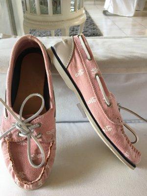 Rosa weiße bootschuhe aus canvas von Gaastra mit Gaastra Logo Größe 37 rosa weiß