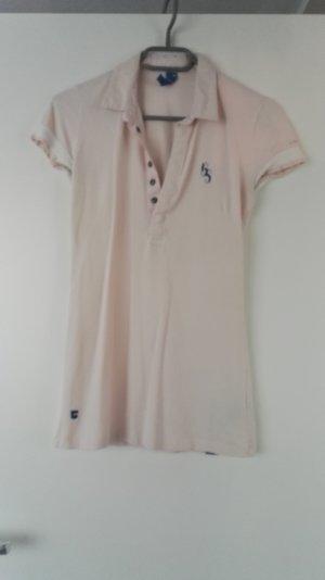 Rosa weißes Polo Shirt mit Druckknöpfen