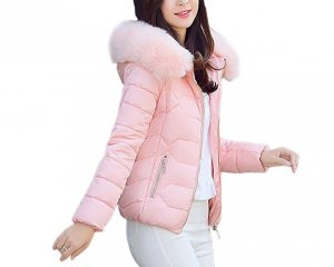 Rosa winterjacke mit weichem Fell