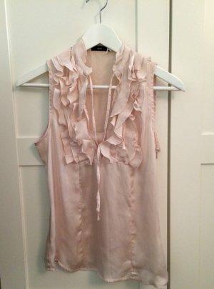 Rosafarbene Bluse mit Volants
