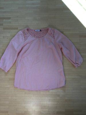 Rosafarbene Bluse/Tunika mit Spitzeneinsätzen, Only, Gr. S
