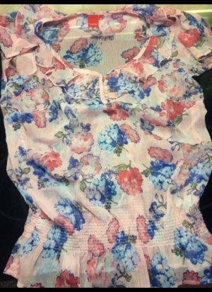 Rosafarbene Kurzarmbluse mit Blumendruck