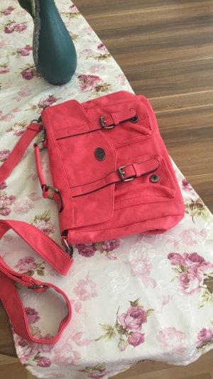 Rosafarbener Ranzen von H&M mit Schnallen und einem Umhängegürtel