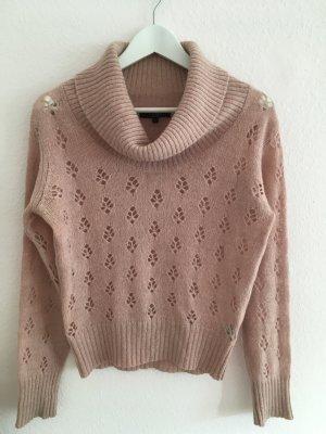Rosafarbener Wollpullover mit Muster von Hallhuber