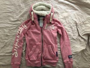 Superdry Sweatjack roze-wolwit