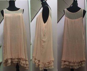 Volante jurk stoffig roze Synthetische vezel
