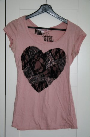 Rosafarbenes Tshirt mit Herzmuster