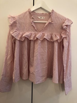 Mango Camicetta con arricciature rosa-bianco