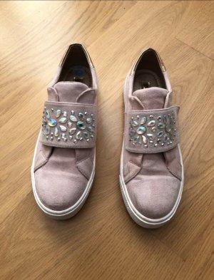 rosane Schuhe mit Steinchen Details und Klett