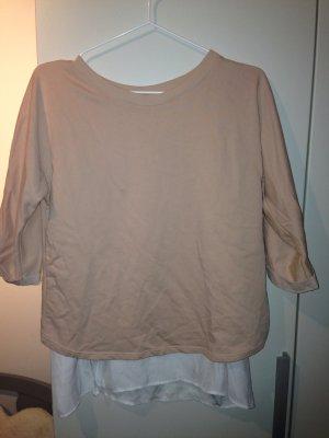 Bershka Jersey de manga corta blanco-rosa