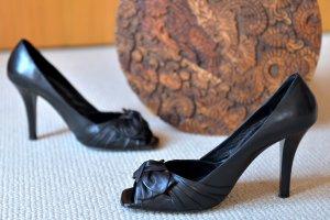 RosaRot Pums Peeptoes 37 Schwarz Leder Opentoes Peeptoes Flamenco Heels Schleife